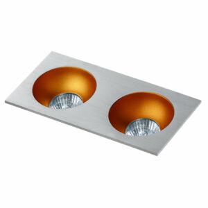 Azzardo Hugo AZ-GM2203S-ALU-GO Álmennyezetbe építhető lámpa arany 2 x GU10 max. 50W 4,2 x 23,3 x 11,5 cm