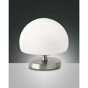 Fabas Luce MORGANA 3340-30-178 Asztali lámpa szatinált nikkel fehér LED 5W ø14x14cm