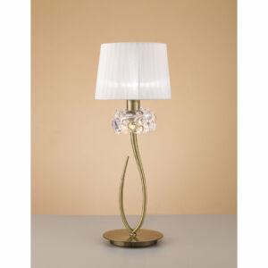 Mantra 4736 Asztali lámpa LOEWE CUERO antik réz fehér fém textil