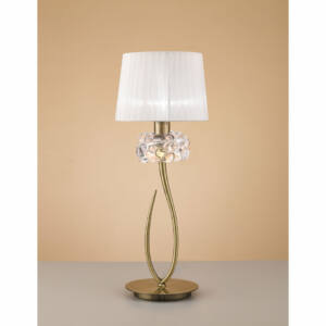 Mantra LOEWE CUERO 4736 Asztali lámpa antik réz fehér fém textil