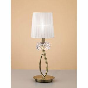 Mantra LOEWE CUERO 4737 Asztali lámpa antik réz fehér fém textil