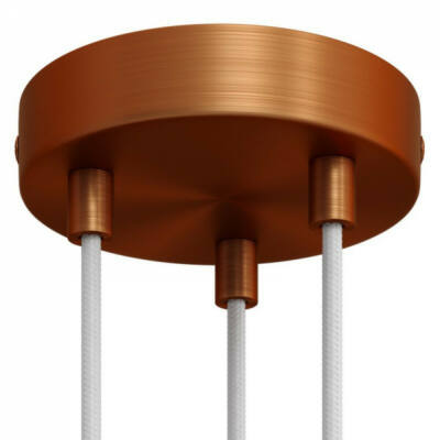Cylindrical metal 3-hole ceiling rose kit - cooper