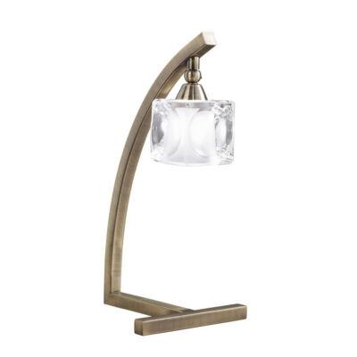 Mantra CUADRAX ANTIQUE BRASS GLASS 0994 asztali lámpa antik réz fém üveg