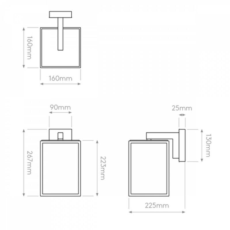 Astro Box 1354003 kültéri falikar  fekete   átlátszó   fém