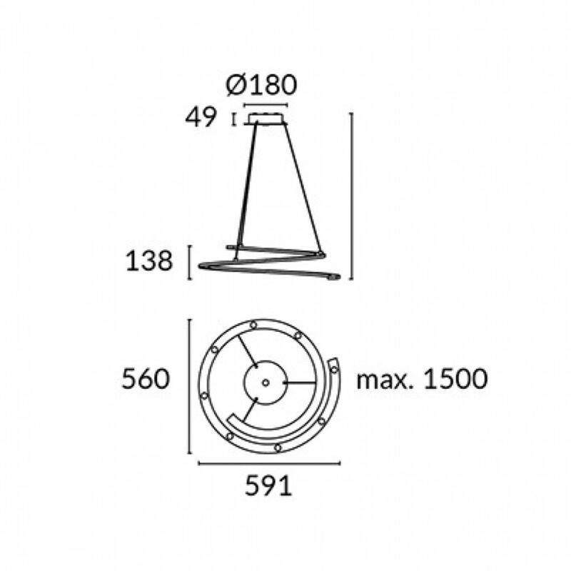 Leds-C4 CURL 00-4835-14-14 falikar fehér alumínium