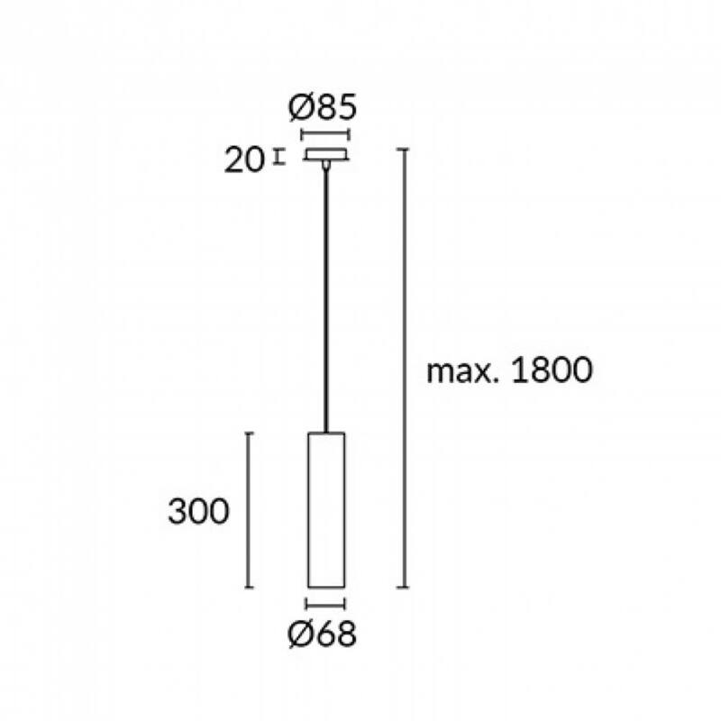 Leds-C4 PIPE 00-5456-14-05 egyágú függeszték fehér fekete alumínium