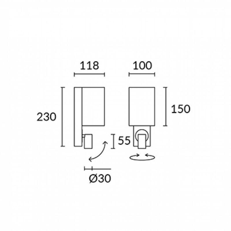 Leds-C4 BUC 05-4901-19-E4 fali olvasólámpa bronz alumínium