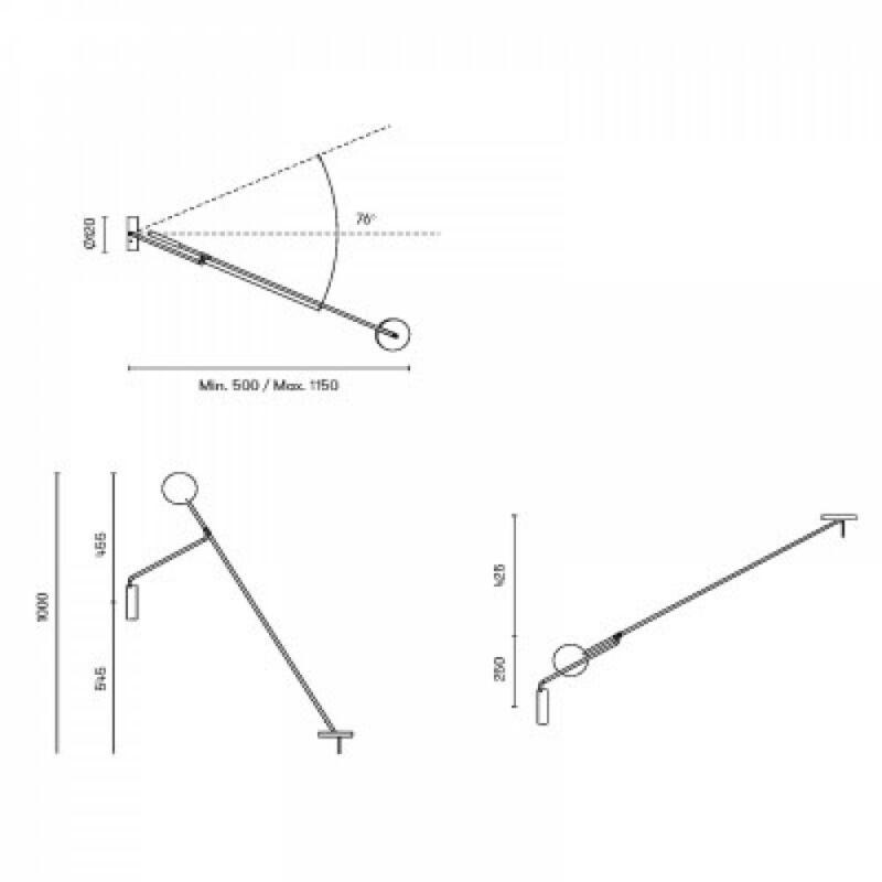 Leds-C4 INVISIBLE 05-5693-05-05 fali lámpa fekete alumínium