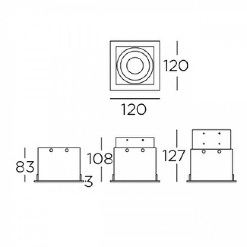 Leds-C4 Multidir Evo S Single Trim AF17-AAG1NABU14 álmennyezetbe építhető lámpa  fehér   alumínium