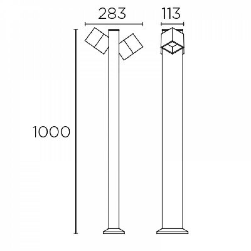 Leds-C4 CUBUS 55-9944-Z5-CL kültéri led állólámpa  szürke   alumínium