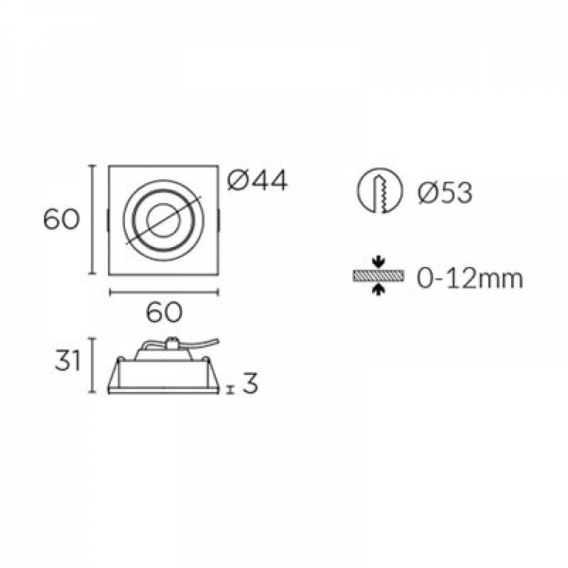 Leds-C4 OXY 90-3489-54-S2 beépíthető lámpa  alumínium   alumínium   műanyag
