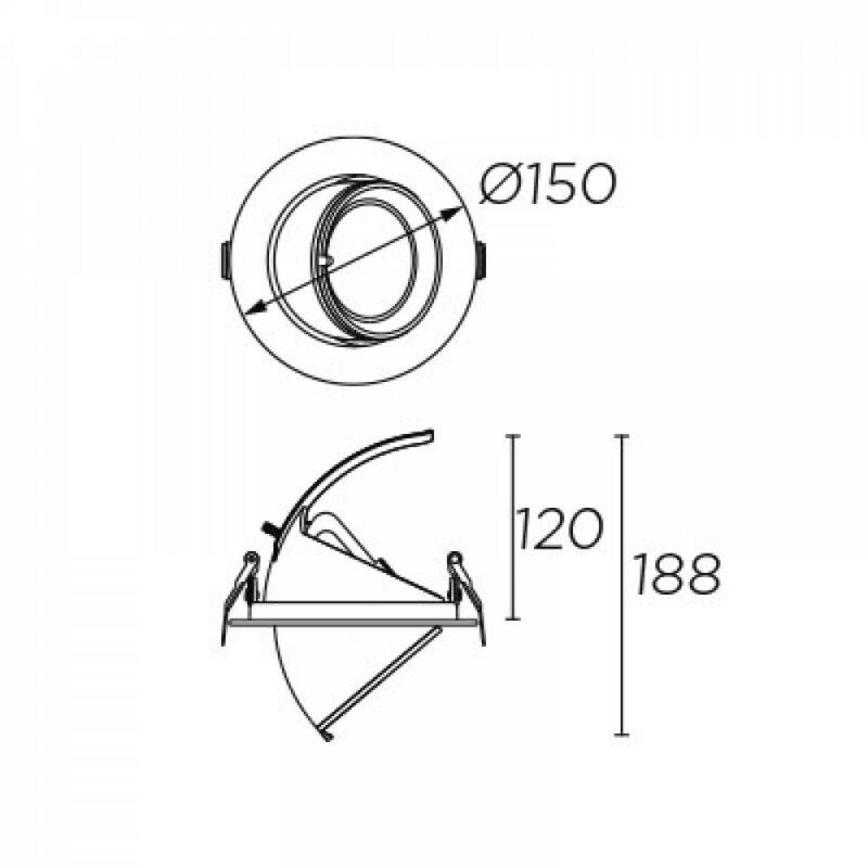Leds-C4 OUT S 90-4793-14-37 álmennyezetbe építhető lámpa  fehér   átlátszó   alumínium   üveg