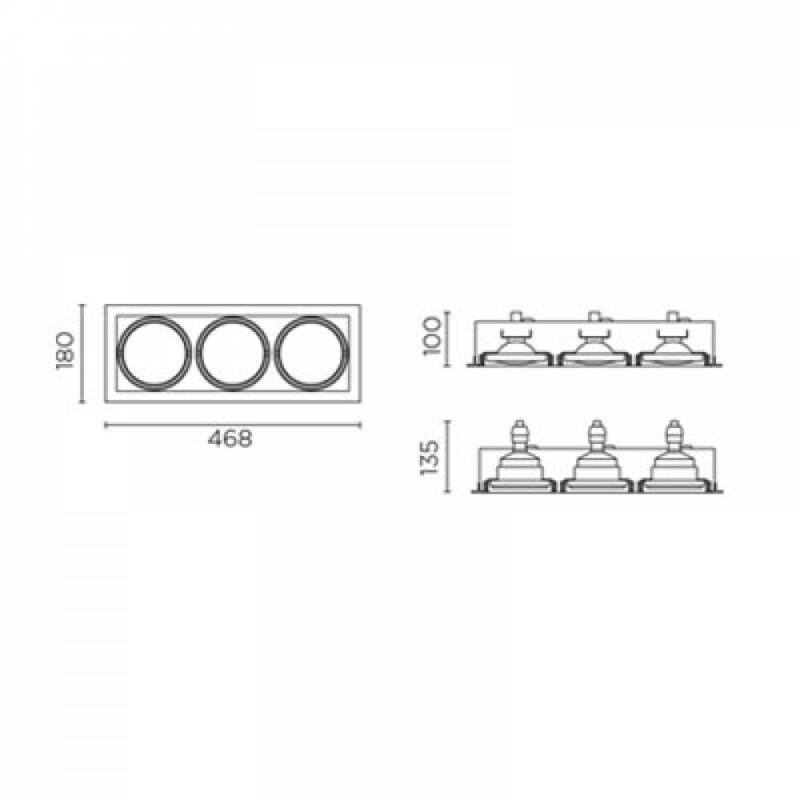 Leds-C4 MULTIDIR DM-1157-14-00 álmennyezetbe építhető lámpa  fehér   alumínium