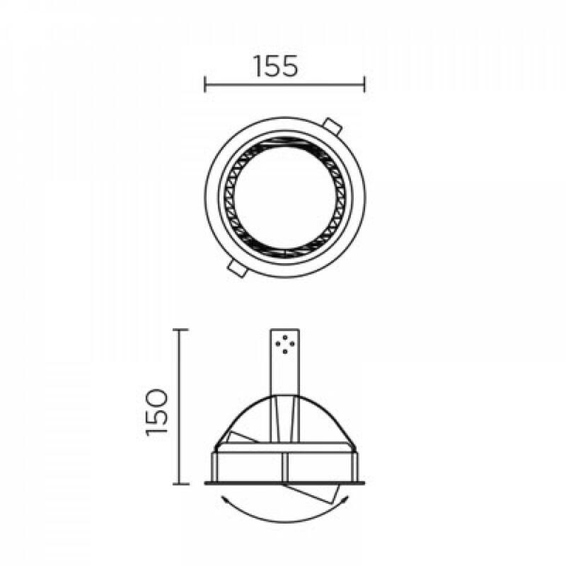 Leds-C4 CARDEX C DN-0270-14-00 beépíthető lámpa fehér alumínium üveg