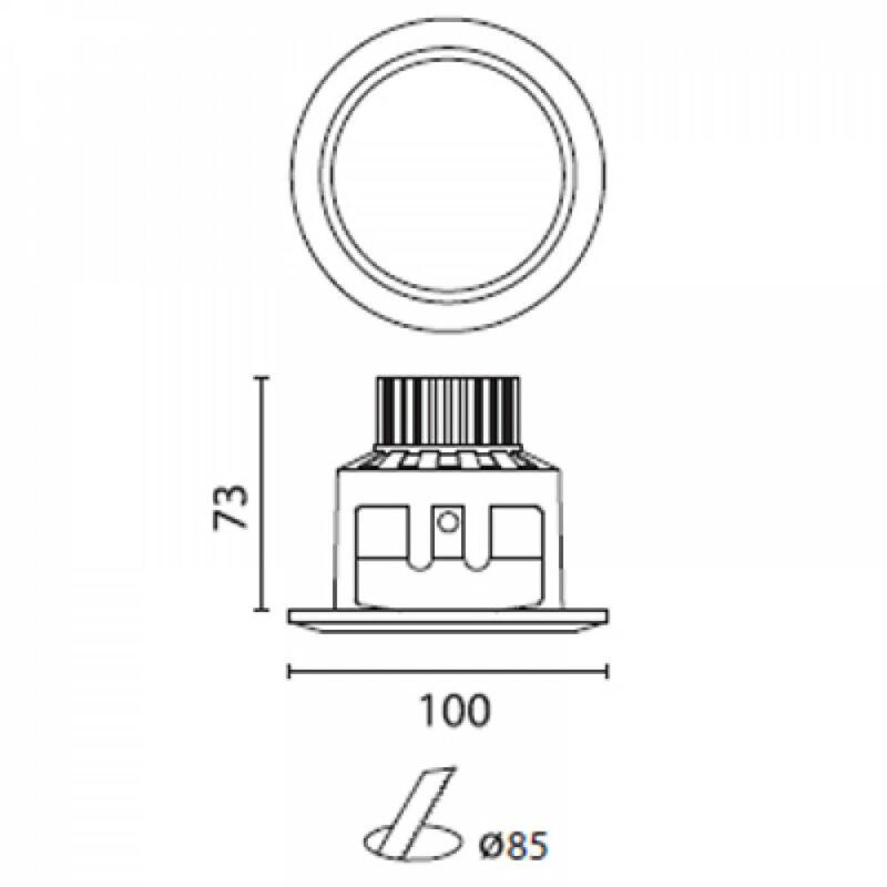 Leds-C4 DN-1005-14-B9 beépíthető lámpa  fehér   alumínium   üveg