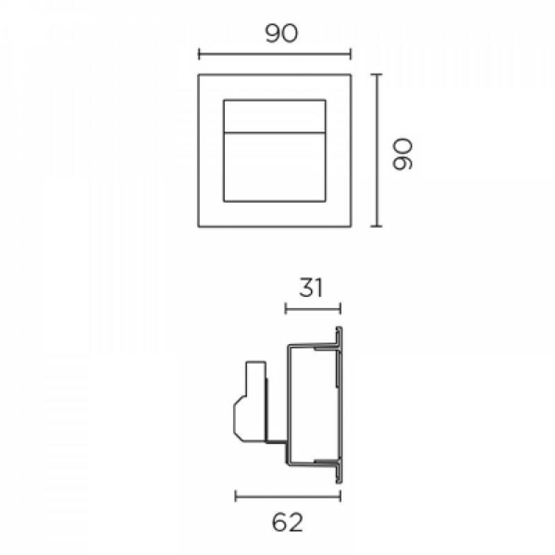 Leds-C4 SIGN EP-0356-N3-00 falba építhető lámpa  szürke   alumínium