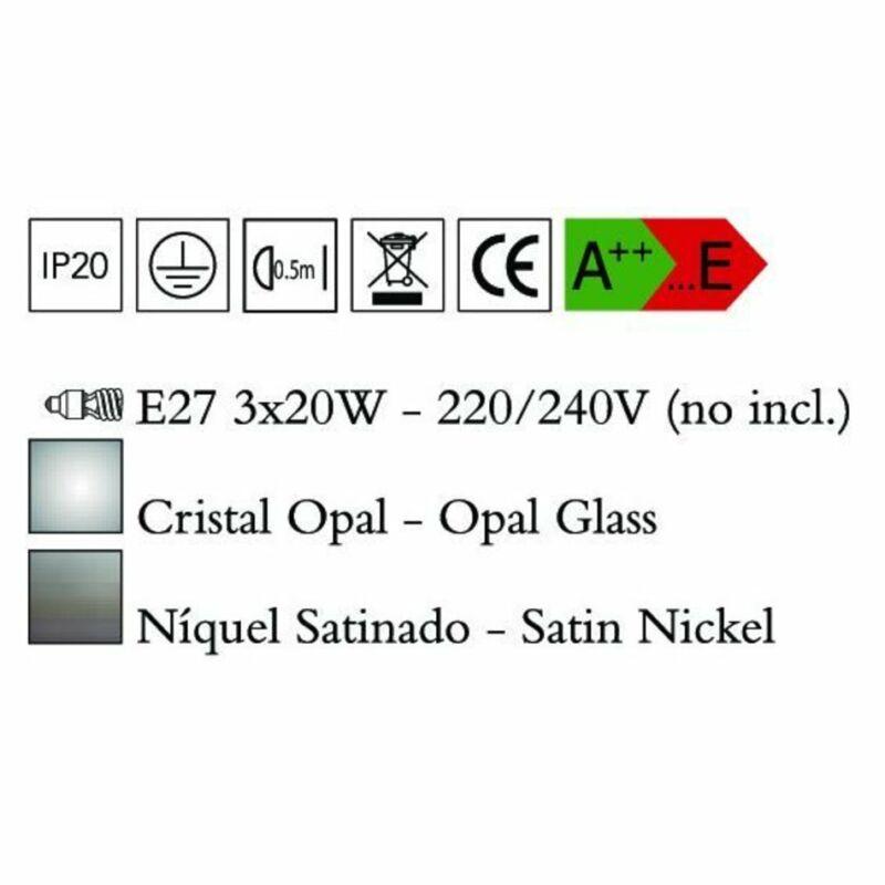 Mantra ZACK 0770 többágú függeszték szatinált nikkel opál fém üveg