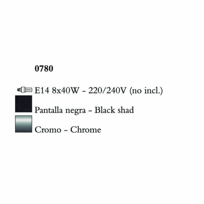 Mantra AKIRA CHROME BLACK SHADE 0780 fekete csillár  króm   fekete   fém   szövet