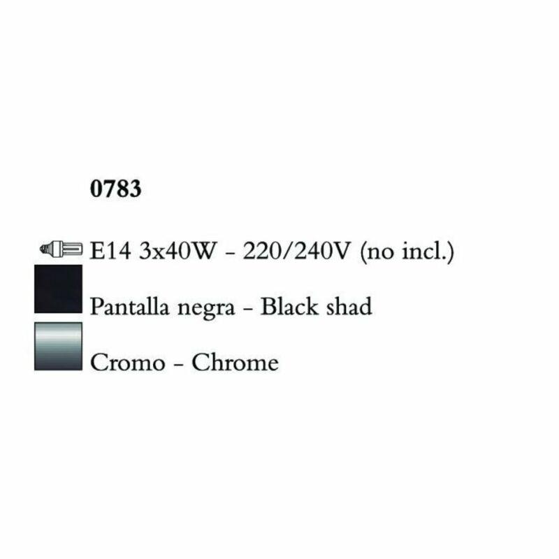 Mantra AKIRA CHROME BLACK SHADE 0783 fekete csillár  króm   fekete   fém   szövet