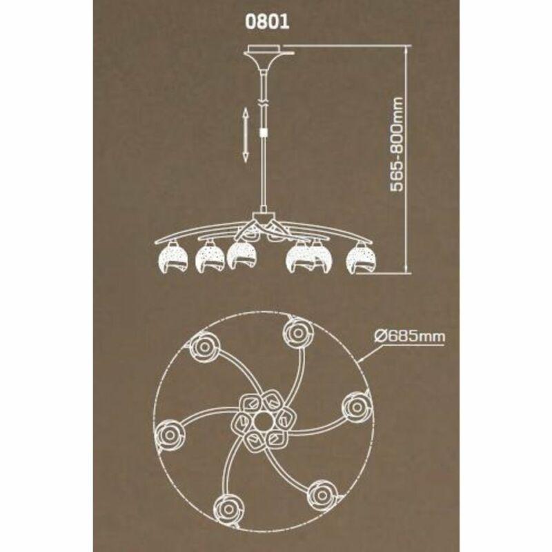 Mantra BALI CHROME 0801 csillárok nappaliba  króm