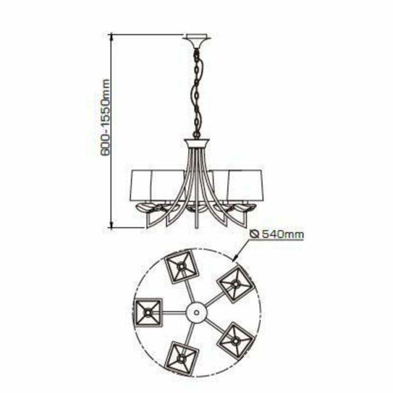 Mantra AKIRA CHROME CREAM SHADE 0932 csillárok nappaliba  króm   fehér   fém   szövet