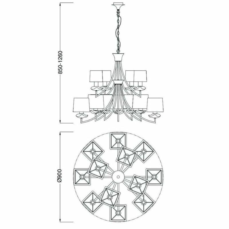 Mantra AKIRA CHROME CREAM SHADE 0942 csillárok nappaliba  króm   fehér   fém   szövet
