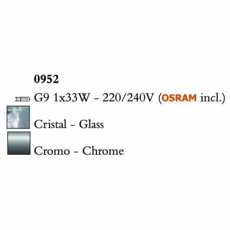 Mantra CUADRAX CHROME GLASS 0952 falikar króm fém üveg