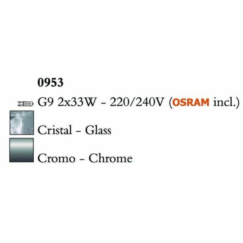 Mantra CUADRAX CHROME GLASS 0953 falikar  króm   fém   üveg