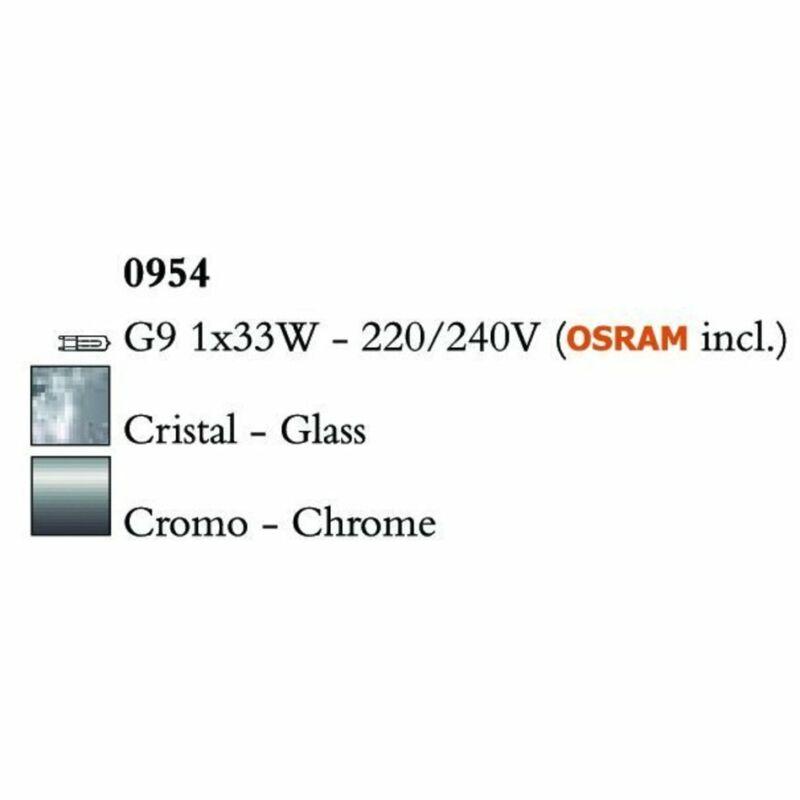 Mantra CUADRAX CHROME GLASS 0954 asztali lámpa króm fém üveg