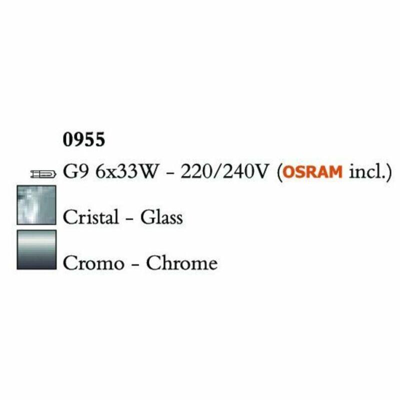 Mantra CUADRAX CHROME GLASS 0955 többágú függeszték  króm   fém   üveg