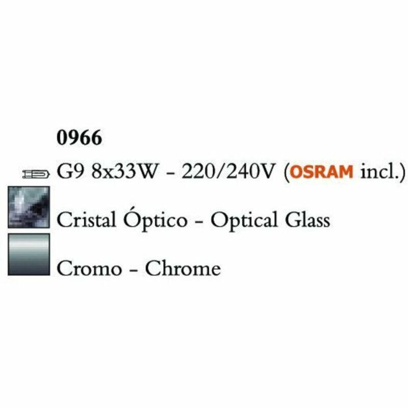 Mantra CUADRAX CHROME OPTICAL GLASS 0966 többágú függeszték króm fém üveg