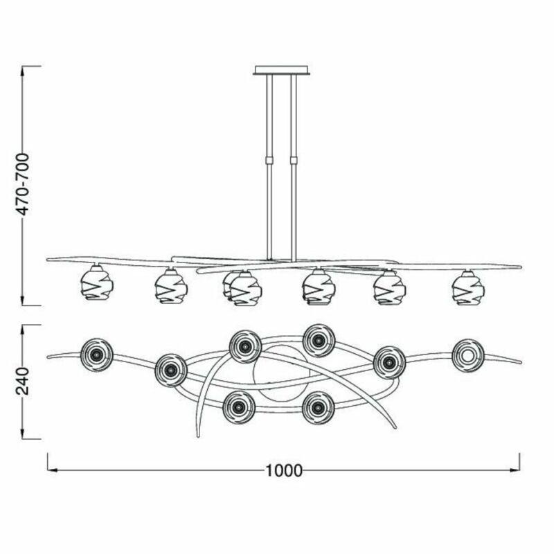 Mantra LOOP 1810 többágú függeszték szatinált nikkel fém