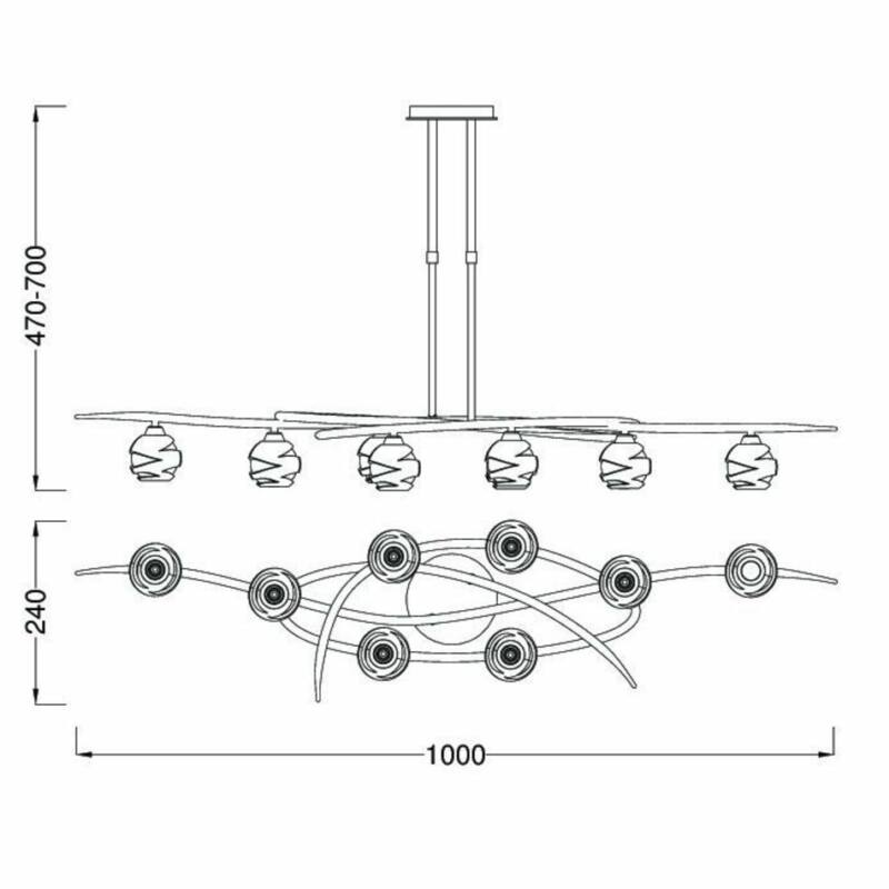 Mantra LOOP 1820 többágú függeszték sárgaréz fém