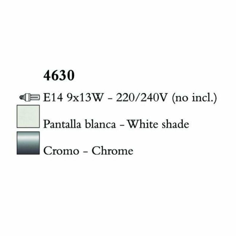 Mantra LOEWE CROMO 4630 csillárok nappaliba  króm   fehér   fém   textil
