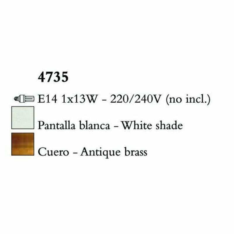 Mantra LOEWE CUERO 4735 falikar antik réz fehér fém textil