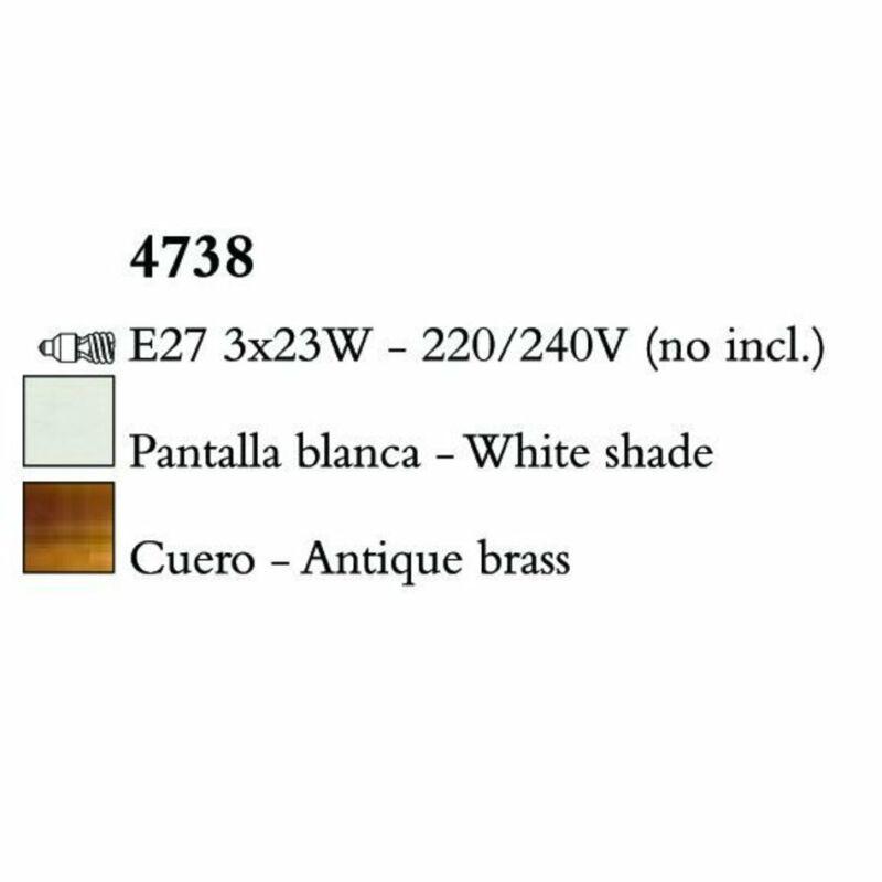 Mantra LOEWE CUERO 4738 állólámpa antik réz fehér fém textil