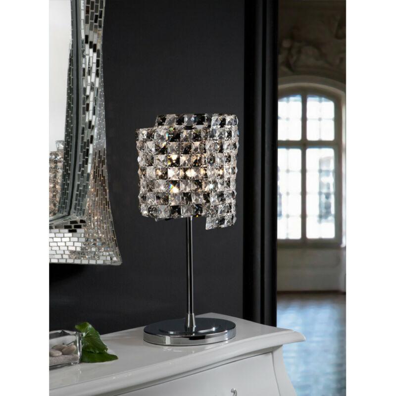 Schuller Satén 161461 éjjeli asztali lámpa  króm   kristály   fém   kristály