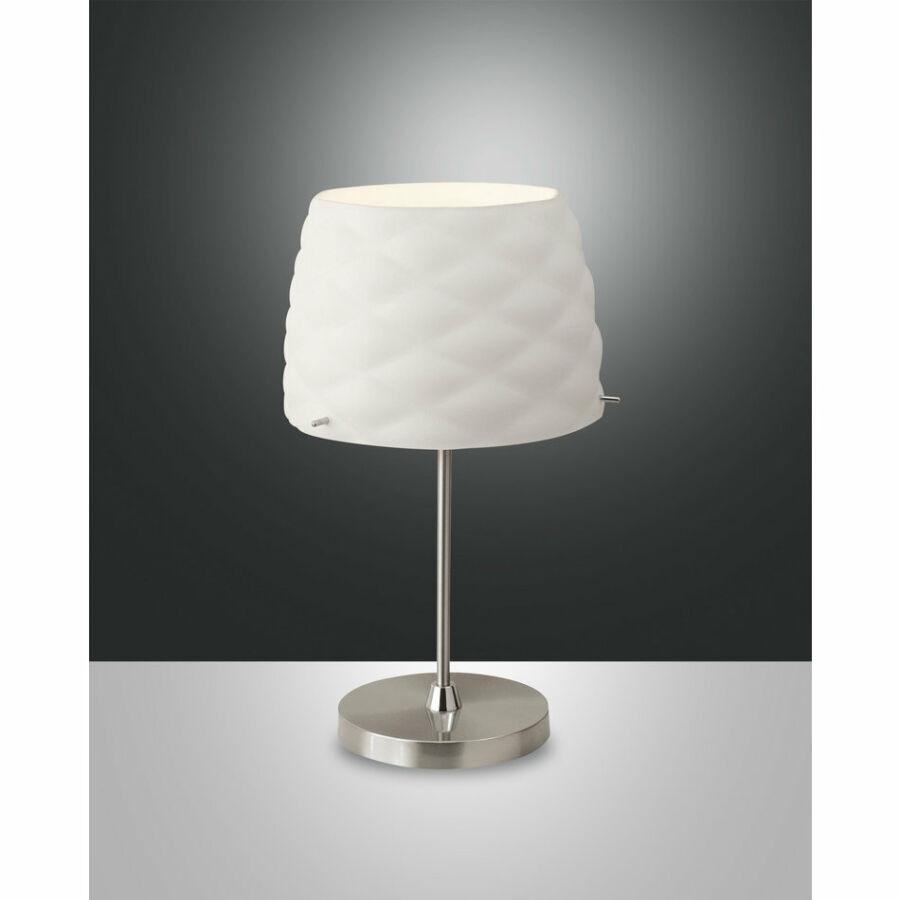 Fabas Luce SOFT 3322-30-178 Asztali lámpa szatinált nikkel fehér 1xE27 max. 40W Ø26x46xm