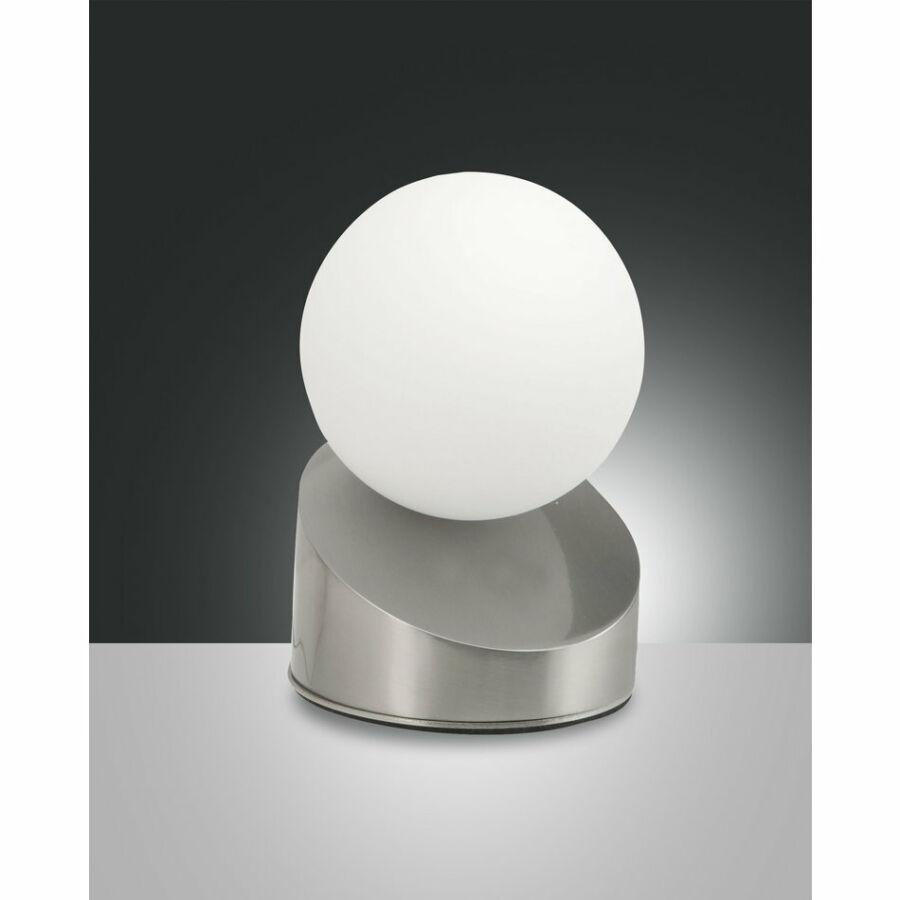 Fabas Luce GRAVITY 3360-30-178 Ledes asztali lámpa szatinált nikkel LED 5W Ø10x15cm