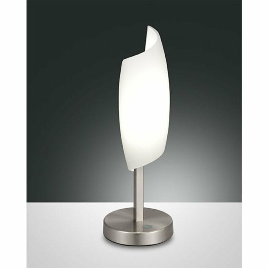 Fabas Luce ROXIE 3300-30-178 Asztali lámpa szatinált nikkel LED 8W Ø10x30cm