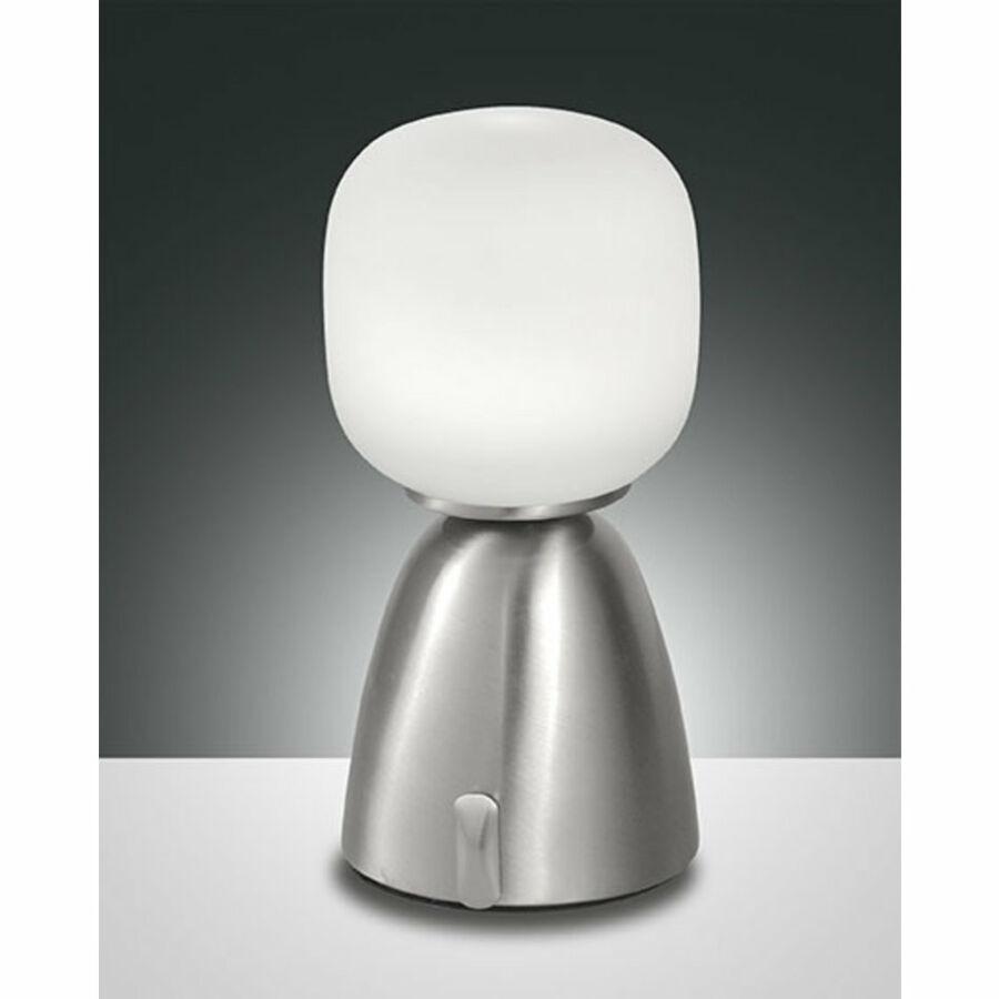 Fabas Luce SOLANGE 3291-35-178 Asztali lámpa szatinált nikkel LED 6W Ø12x25cm