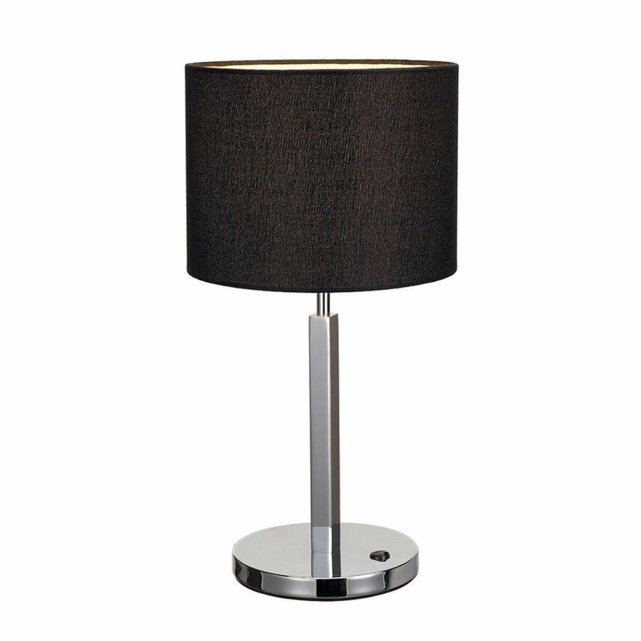 SLV 156040 Asztali lámpa TENORA króm fekete acél textil