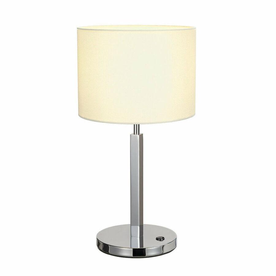 SLV TENORA 156041 Asztali lámpa króm fehér acél textil